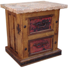 Two Drawer Copper Nightstand w/ Marble Top