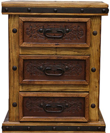 Tablero Nightstand w/ Tooled Leather
