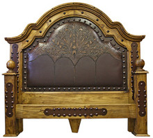 Emperador King Bed w/ Tooled Leather