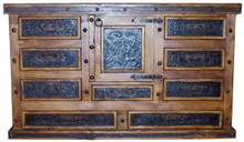 Nine Drawer Tooled Leather Dresser