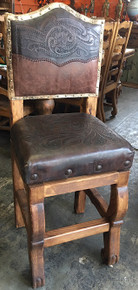 Camila Tooled Leather Swivel Barstool w/Cowhide