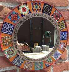 Round 15'' Tile Mirror w/ Orange Grout