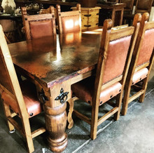 Torno 72'' Dining Table w/ Copper Top