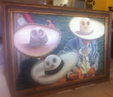 Sombreros Painting Oil on Canvas w/ Hacienda Frame