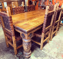 Carved Torno 7pc Dining Set w/ Tejida Chairs