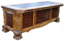 Leon Tooled Leather Desk w/ Leather Top
