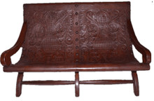Mesquite Recostada Tooled Leather Bench