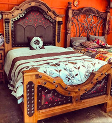 Pedregal Tooled Leather Queen Bed