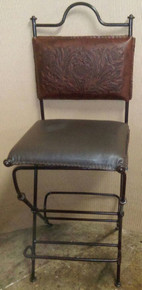 Playa Iron Barstool w/ Tooled Leather