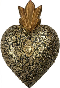 18'' Wood Carved Sacred Heart with Milagros