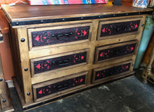 Pedregal Tooled Leather 6 Drawer Dresser SALE 40% OFF * 1 LEFT AT THIS PRICE