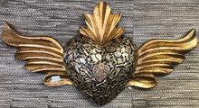 Black & Gold 20'' Winged Heart w/ Milagros
