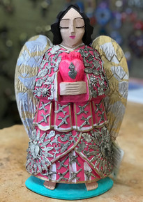 Angel San Rafael 14'' Hand Carved w/ Milagros