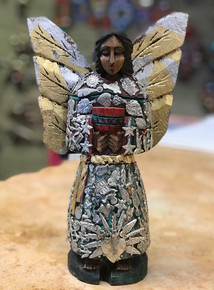 Angel 11'' Hand Carved w/ Milagros