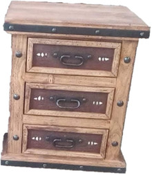 Jalisco Nightstand w/ Two Tone Leather ** SALE 25% OFF, 2 LEFT AT THIS PRICE