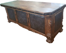 Leon Desk w/ Tooled Leather