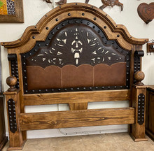 Jalisco King Bed w/ Two Tone Leather ** SALE 30% OFF, 1 LEFT AT THIS PRICE