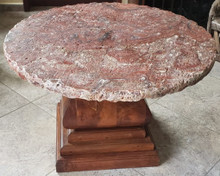 Mesquite Round Coffee Table w/ Onix Stone Top