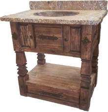 Andrade Sink Cabinet w/ Copper Sink & Onix Stone Top