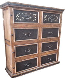 Eight Drawer Two Tone Leather Dresser