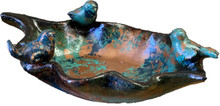 Bird Bath w/ 3 Birds - Copper & Turquoise finish
