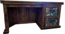 Hacienda 65'' Desk w/ Aqua Copper