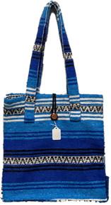 Button Top Blue Falza Blanket Bag