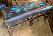 Flor Tooled Leather Bench w/ Turquoise Leather