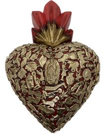 8'' Wood Carved Sacred Heart w/ Milagros