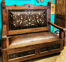 Portal Bench w/ Tooled Leather