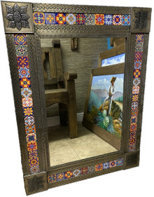 40'' Rectangular Tin & Tile Mirror