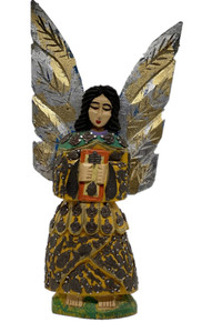 Angel 15'' Hand Carved w/ Milagros