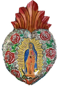 Virgen Hand Painted Carved Heart w/ Milagros