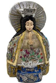 Virgen De La Salud Hand Carved w/ Milagros
