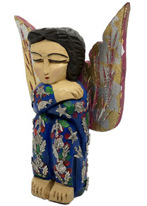 Angel in Prayer Hand Carved w/ Milagros