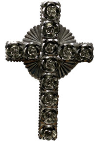 Tin Cross w/ Roses