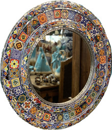 Round Tile & Glass Mirror