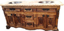 Leon 72'' Marble Top Sink Cabinet w/ Drawers