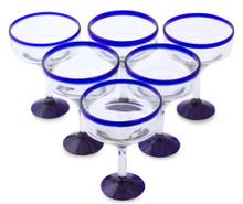 Margarita Glasses w/ Blue Rim - Set of 6