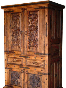 Carved 4 Door Armoire