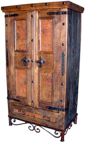 Antiguo Copper Armoire w/ Iron Base