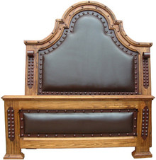 Colonial King Bed w/ Leather
