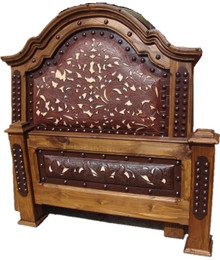 Consuelo King Bed w/ Tooled Leather