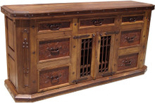 Mesquite Rejas File Cabinet  w/ Tooled Leather