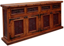 Mesquite 84'' Tooled Leather Buffet