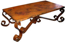 Copper Top Coffee Table Iron Base