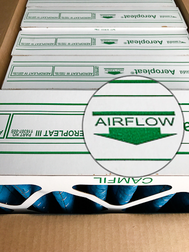 air flow arrow on camfil ap-3 furnace filter