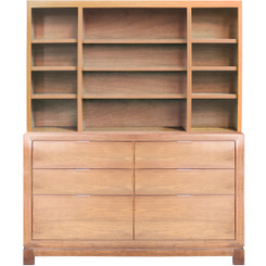 Tempo Bookcase - Bin Drawers w/Custom Ash and Hutch