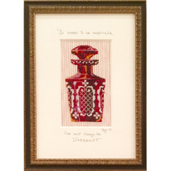 Needlepoint - Etched Cranberry Perfume Bottle