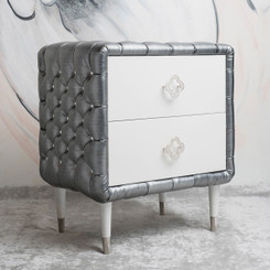 FLOOR SAMPLE Jewels Nightstand - Tufted w/Diamonds
